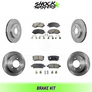 Front Rear Ceramic Brake Pads Rotors Kit For 2008 2014 Mitsubishi Lancer