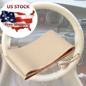 1x Universal Car Beige Leather Steering Wheel Cover Grip With Needles And Thread