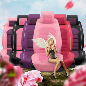 Luxury Seat Cover Pu Leather 5 Seats Suv Cute Girl Front Rear Cushion Colorful