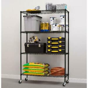 Shelving Storage Rolling Steel Layer Shelf Rack Liners Casters 4 Tier Space Save