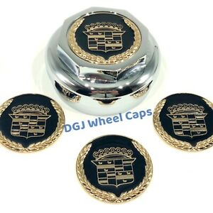 Cadillac Black On Gold Lowrider Wire Wheel Metal Chips Emblems Size 2 25