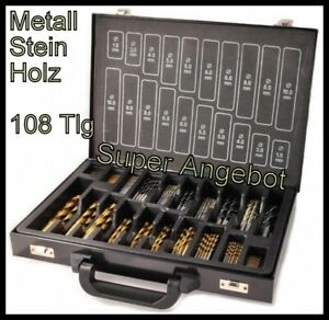Hss Drill Bits 108 Pc Kombibohrer Steel Wood Stone Drill Twist Drills