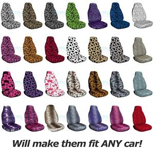 Animal Print Car Seat Covers front Semi custom Zebra cow leopard tiger bug
