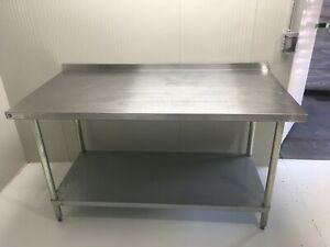 Heavy Duty 72x30 Stainless Steel Prep Table With Backsplash And Lower Shelf