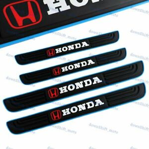 4pcs Blue Border Rubber Car Door Scuff Sill Cover Panel Step Protector For Honda