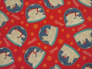 Vintage Coca Cola Fabric Sewing Material Red Polar Bears Cubs Snow Globes 1 yd