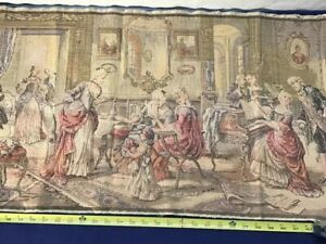 Antique French Rococo Salon Tapestry 4 Feet 4 Inch Woven Music Parlor Victorian
