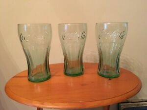COCA COLA GLASSES - GREEN - 6 INCH  16 OUNCE - LOT OF 3 - FREE SHIPPING