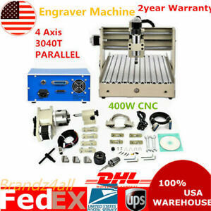 400w 4 Axis Cnc 3040 Wood Router Desktop Engraver Engraving Drilling Machine Usa
