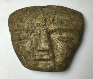 Pre Columbian Brown Green Stone Jade Mask Pendant Vera Cruz Mayan Aztec Incan