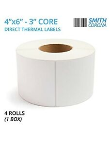 Smith Corona 4 Rolls 4 X 6 direct Thermal Labels 3 Core 4 Rolls 4000 Count