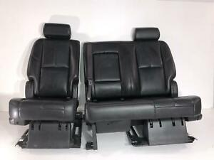 2007 2014 Tahoe Black Leather Second 2nd Row Heated Rear Seats Yukon Escalade