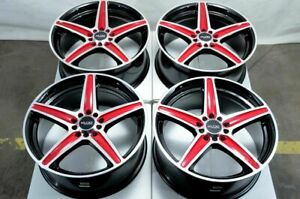 17 5x114 3 5x100 Red Wheels Fits Lexus Mazda 3 6 Is250 Is350 Camry Tl 5 Lug Rims