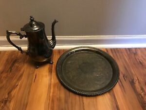 Wm Rogers Silverplate Tray And Coffeepot