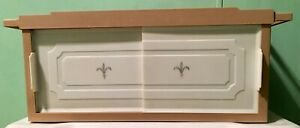 Mid Century Tan Plastic Bathroom Cabinet Shelf Fleur De Lis Sliding Doors