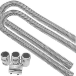 2 Set Of 48 Stainless Steel Radiator Flexible Coolant Water Hose Kit With Caps