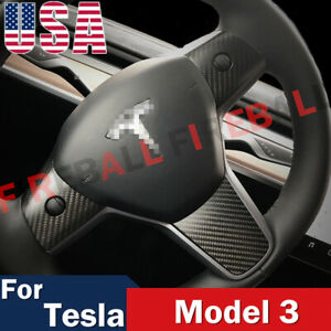 For Tesla Model 3 Steering Wheel Mouldings Carbon Cover Trims Accessories 17 19