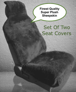 Sheepskin Seat Covers Seat Wraps Two Plush Top Quality Black Or Steel Gray