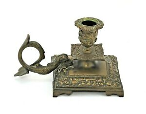 Antique Sea Serpent Chamber Candlestick Heavy Brass Ornate Detail Finger Loop
