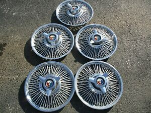 1963 Ford Galaxie 14 Wire Spinner Hubcaps Set Of 5 Oem