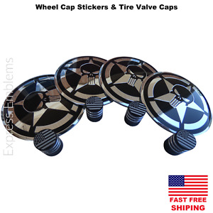 4x Punisher Star Wheel Cap Hub Sticker Decals 2 20 4x Tire Valve Stem Caps