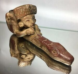 Pre Columbian Priest Shaman Snake Man Pipe Terra Cotta Effigy High Maya Inca