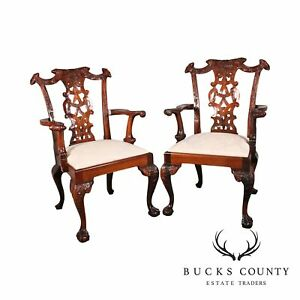 Chippendale Style Solid Mahogany Carved Ball Claw Armchairs