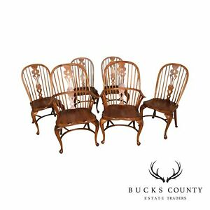 Ethan Allen Old World Treasures Set 6 Double Bow Back Windsor Dining Chairs