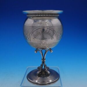 Coin Silver Water Goblet With Hand Engraving And Gold Wash Gorham 1860 4257