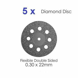 Dental Diamond Double Sided Disc X 5 For Dental Lab 0 30 X 22mm 1 Dental Supply
