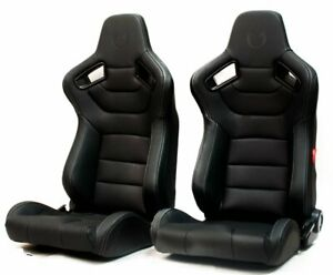 Cipher Euro Ar 9 Revo Racing Seats Black Leatherette W Grey Stitching New Pair