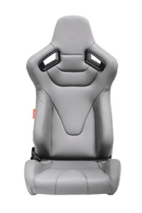 Cipher Auto Rs Grey Leatherette W Poly Carbon Trim Premium Racing Seats Pair New