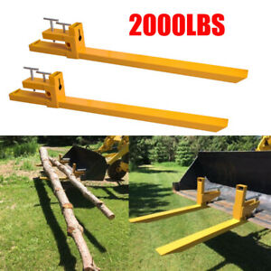 Pallet Forks Loaders 43 For Tractor Bucket Loaders Skid Steer 2000lb Yellow