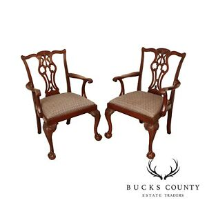 Lexington Chippendale Style Solid Mahogany Ball Claw Pair Armchairs