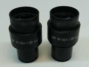 Pair Of Zeiss Wf Pl 10x 22 Microscope Eyepiece Excellent Condition