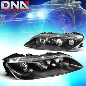 For 2003 2005 Mazda 6 Pair Black Housing Clear Corner Projector Headlight lamps