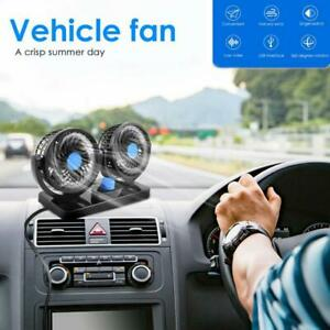 12v Dual Head Car Fan Portable Vehicle Truck 360 Rotatable Auto Cooling Cooler