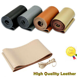 New Premium Genuine Leather Car Truck Beige Steering Wheel Cover High Quality