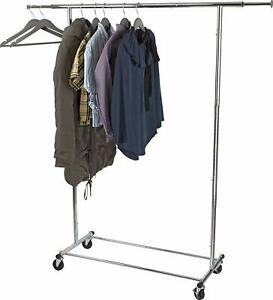 Home it Clothes Rack Heavy Duty Commercial Chrome Garment Clothing Rail Rolling