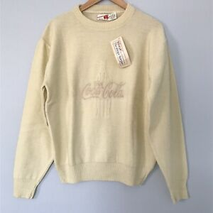 Vintage Coca Cola Sweater, NWT, Ivory, Spellout, Embroidered, Size XL