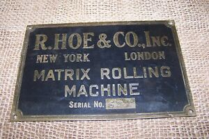 R Hoe Matrix Rolling Machine Folder System Newspaper Printing Press Name Plate