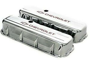 Bbc Chrome Steel Tall Valve Covers W Red Chevrolet Logo 65 95 396 454