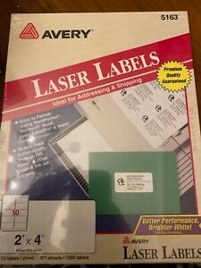 Avery 5163 White Shipping Labels Laser Printer 2 X 4 100 Sheets 1000 Labels
