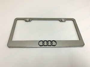 1pc 3d 4 Ring Logo Stainless Steel Chrome License Plate Frame W Screw Caps