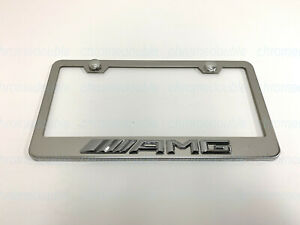 1pc 3d Amgemblem Stainless Steel Chrome Metal License Plate Frame New Style