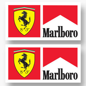 2x Ferrari Marlboro Logo Vinyl Sponsor Decal Stickers F1 Grand Prix Racing