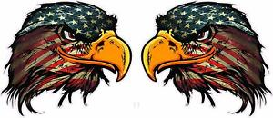 American Flag Eagle Head Version 3 Decal 5 Pair Free Shipping