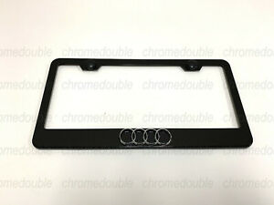 1pc 3d 4 Ring Logo Black Stainless Steel License Plate Frame W Screw Caps