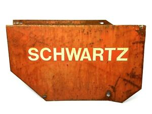 Vintage Metal Steel Painted Red Schwartz One Sided Business Sign Advertising