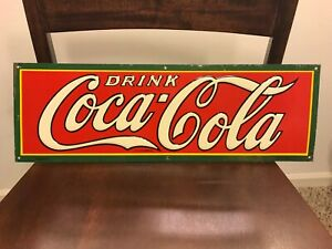 Original Early Coca-Cola Tin Sign. All Original. Dasco-F. 18x6. Coke Sign